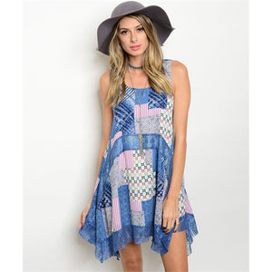 Women's Sleeveless Patchwork Print Tunic Blue Dress