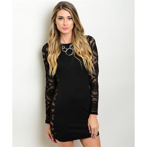 Women's Black Evening Cocktail Lace Mini Dress