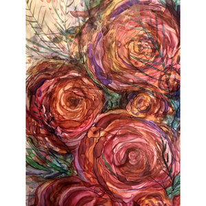 """Pink Roses"" Alcohol Ink painting"