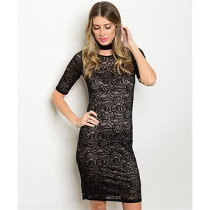 Women's long sleeve Black Cocktail Lace Dress
