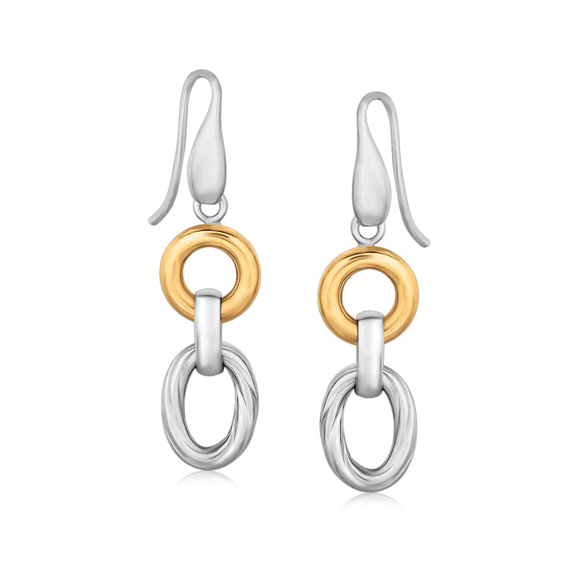 18k Yellow Gold and Sterling Silver Round and Oval Motif Rhodium Plated Earrings