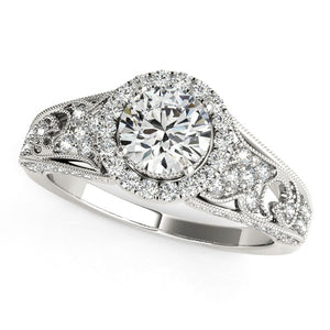 14k White Gold Diamond Engagement Ring with Baroque Shank Design (1 1/8 cttw)