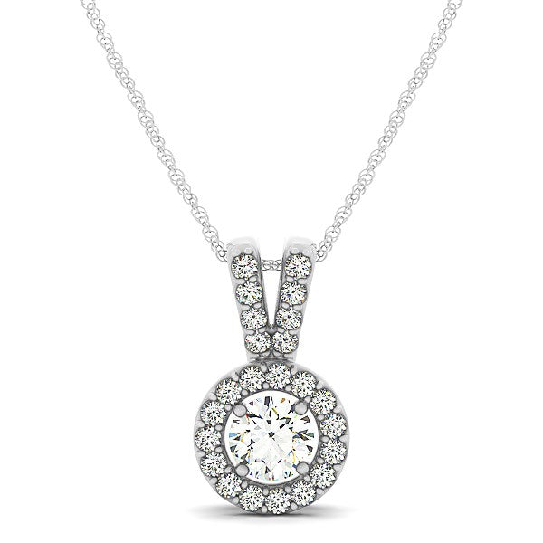 Round Pendant with Split Bail and Diamond Halo in 14k White Gold (3/4 cttw)