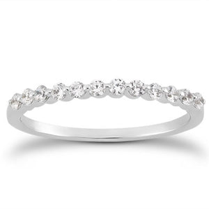 14k White Gold Floating Diamond Single Shared Prong Wedding Ring Band