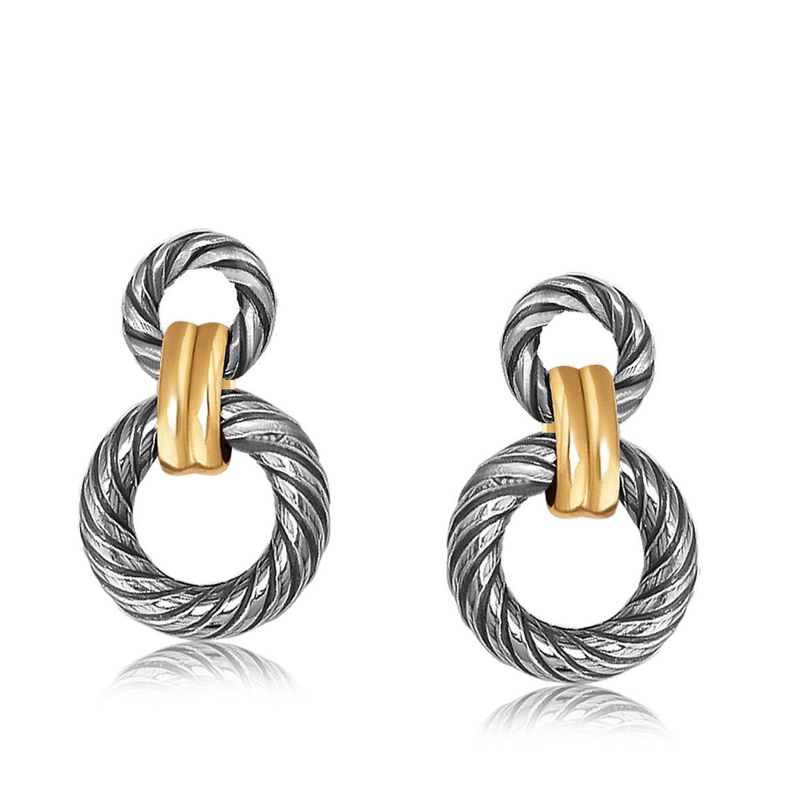 18k Yellow Gold and Sterling Silver Earrings with Circular Cable and Links
