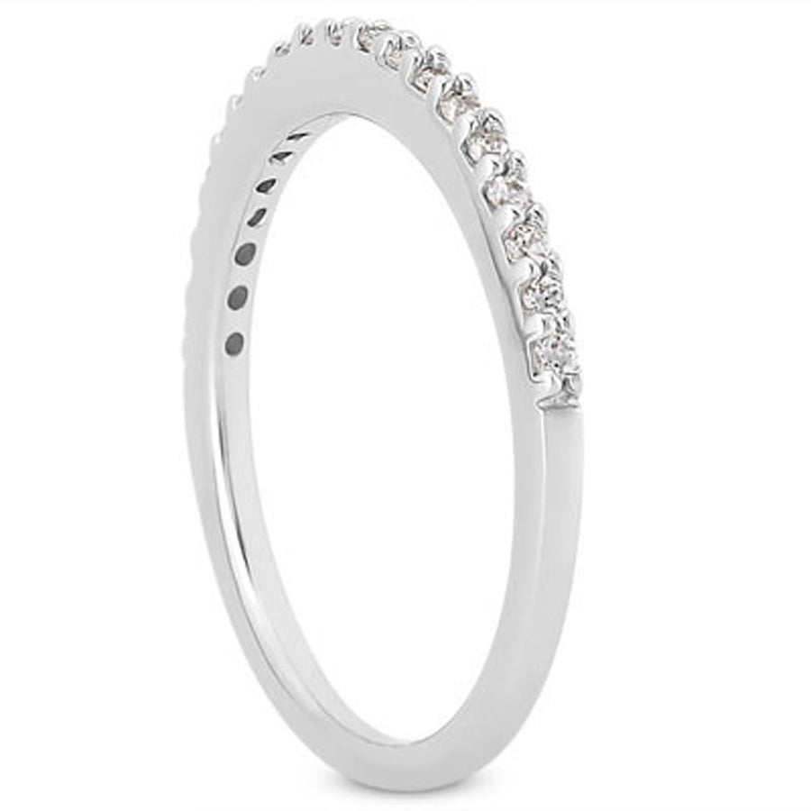 14k White Gold Slim Profile Diamond Micro Prong Diamond Wedding Ring Band
