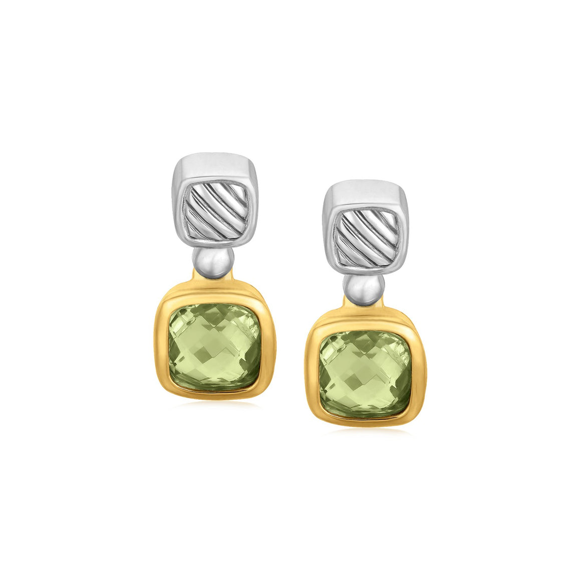 18k Yellow Gold and Sterling Silver Drop Earrings with Bezel Set Green Amethysts