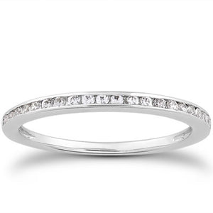 14k White Gold Slim Profile Diamond Channel Set Wedding Ring Band
