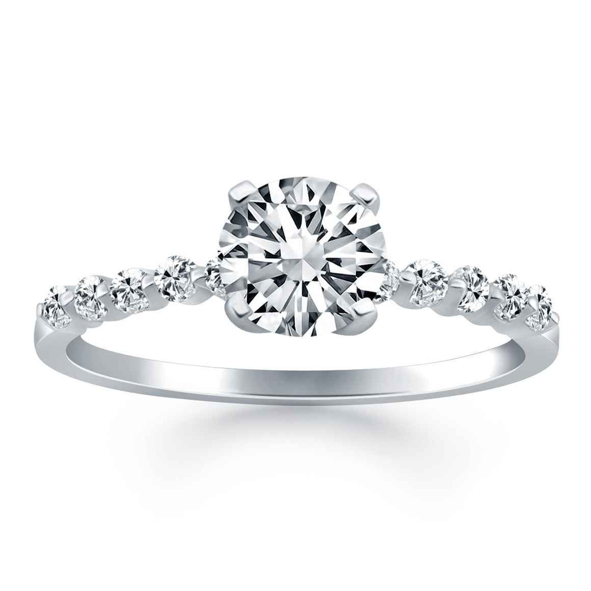 14k White Gold Diamond Engagement Ring with Shared Prong Diamond Accents