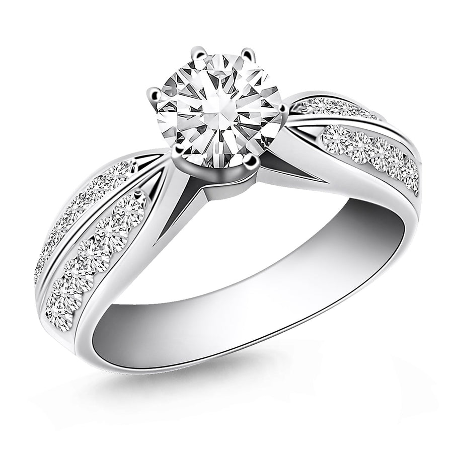 14k White Gold Cathedral Double Row Pave Diamond Engagement Ring