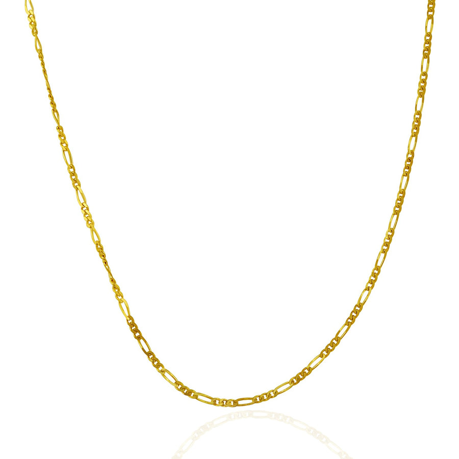 14k Yellow Gold Solid Figaro Chain 1.9mm