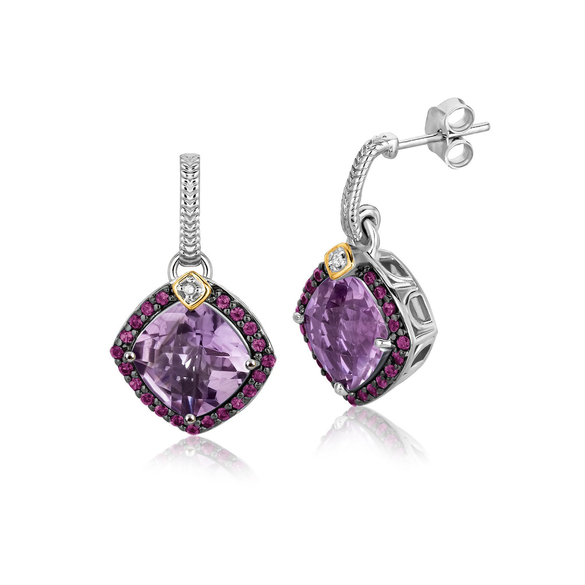 18k Yellow Gold and Sterling Silver Purple Tone Gem Drop Earrings (.43 cttw)