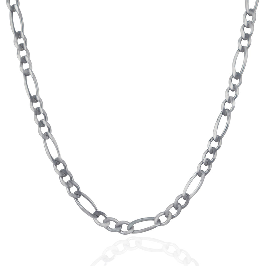 4.6mm 14k White Gold Solid Figaro Chain