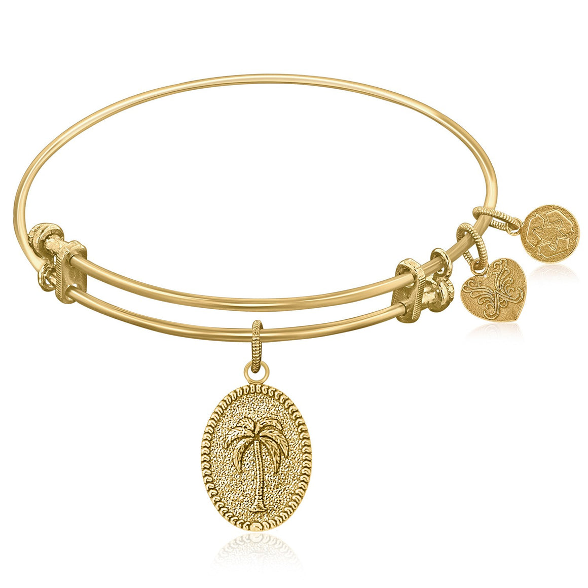 Expandable Bangle in Yellow Tone Brass with Palm Tree Resolve Conflict Symbol