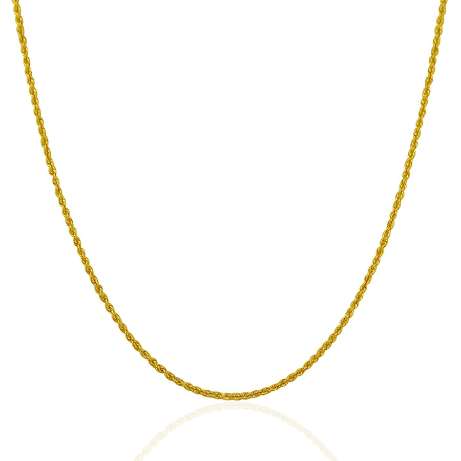 14k Yellow Gold Solid Rope Chain 1.25mm