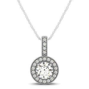 Milgrain Edge Diamond Halo Pendant in 14k White Gold (5/8 cttw)