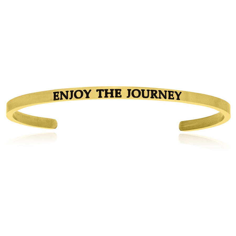 Yellow Stainless Steel Enjoy The Journey Cuff Bracelet