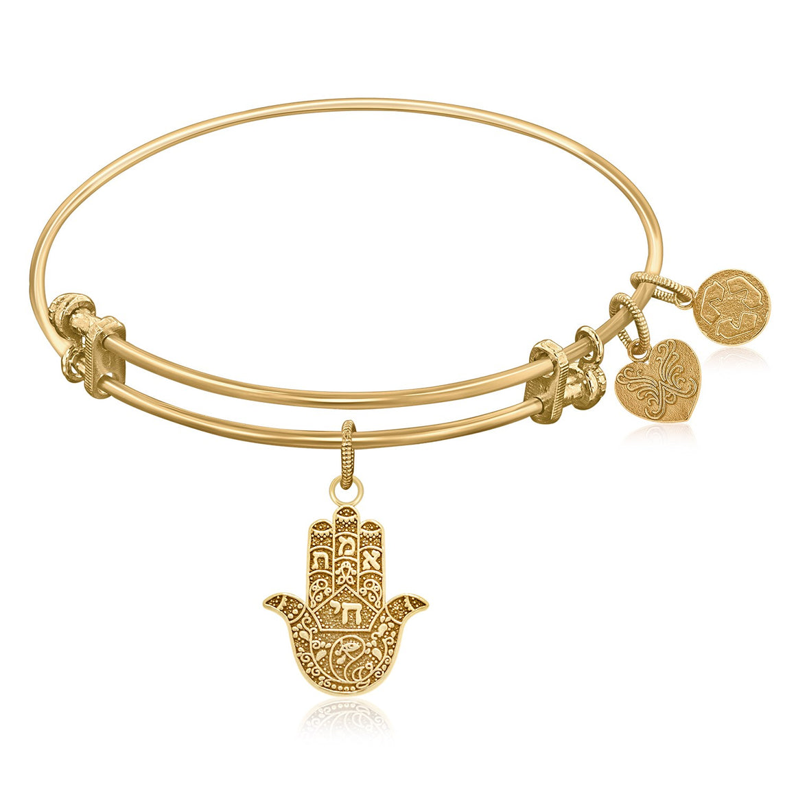 Expandable Bangle in Yellow Tone Brass with Hamsa Hand Symbol
