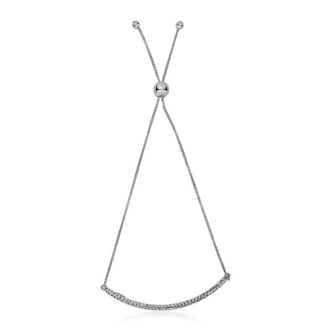 14k White Gold Chain Bar Lariat Style Bracelet