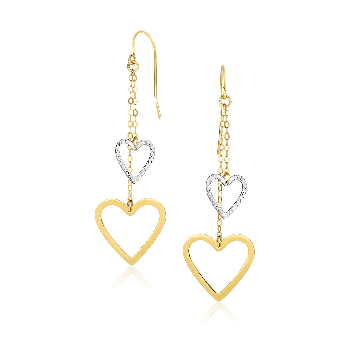 14k Two-Tone Gold Cutout Heart Chain Dangling Earrings