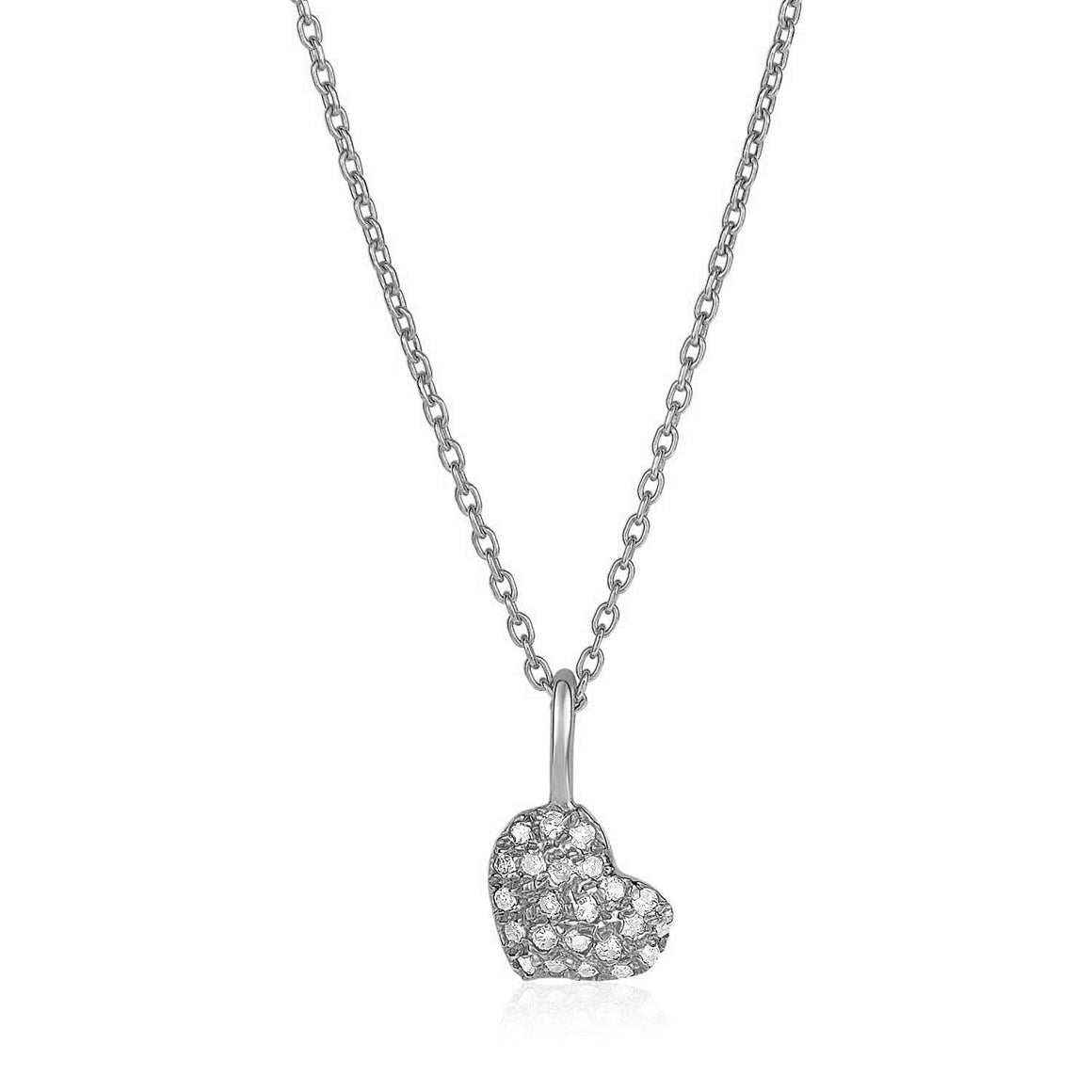 14k White Gold Necklace with Gold and Diamond Heart Pendant (1/10 cttw)