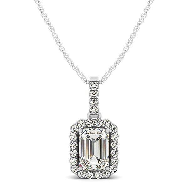 Halo Pendant With Emerald Center Diamond in 14k White Gold (1 1/5 cttw)