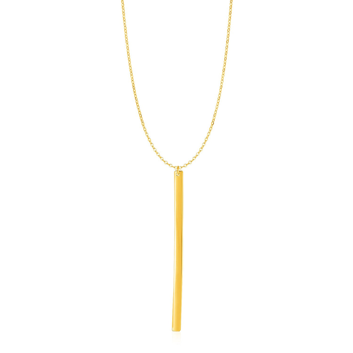 Necklace with Long Bar Pendant in 14k Yellow Gold