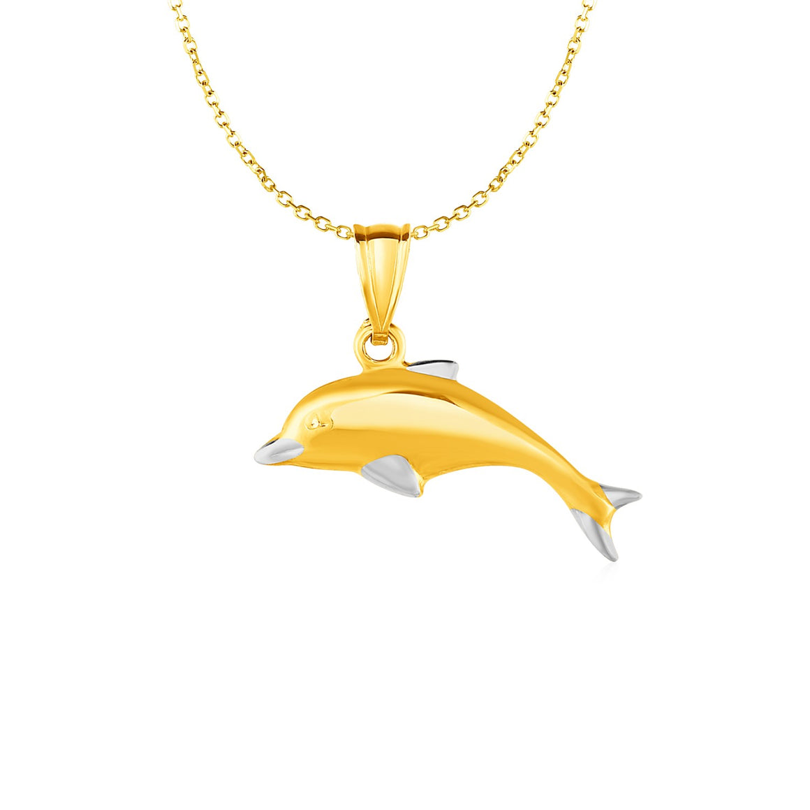Dolphin Pendant in 10k Two Tone Gold