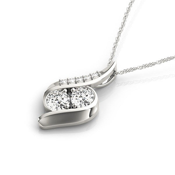 14k White Gold Two Stone Curved Style Diamond Pendant (3/4 cttw)