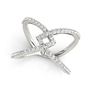 14k White Gold Fancy Entwined Design Diamond Ring (1/2 cttw)