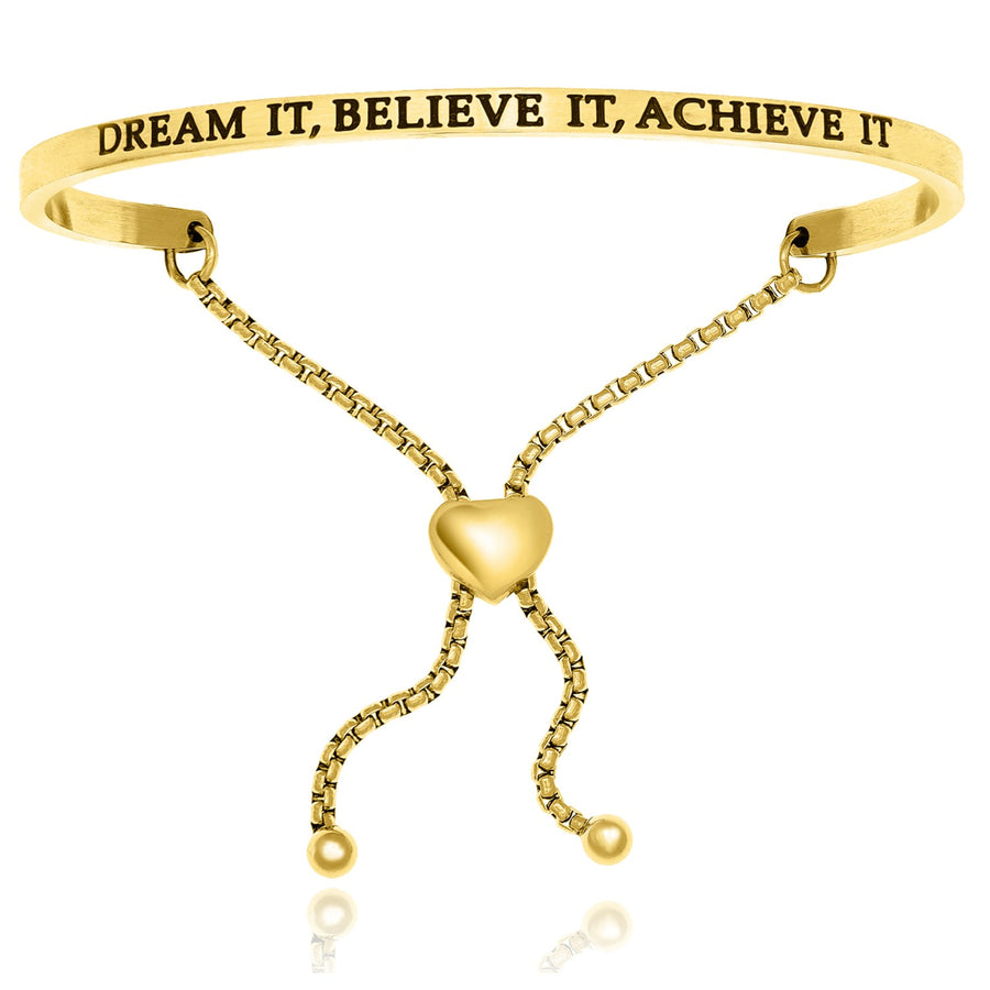 Yellow Stainless Steel Dream It,  Believe It,  Achieve It Adjustable Bracelet