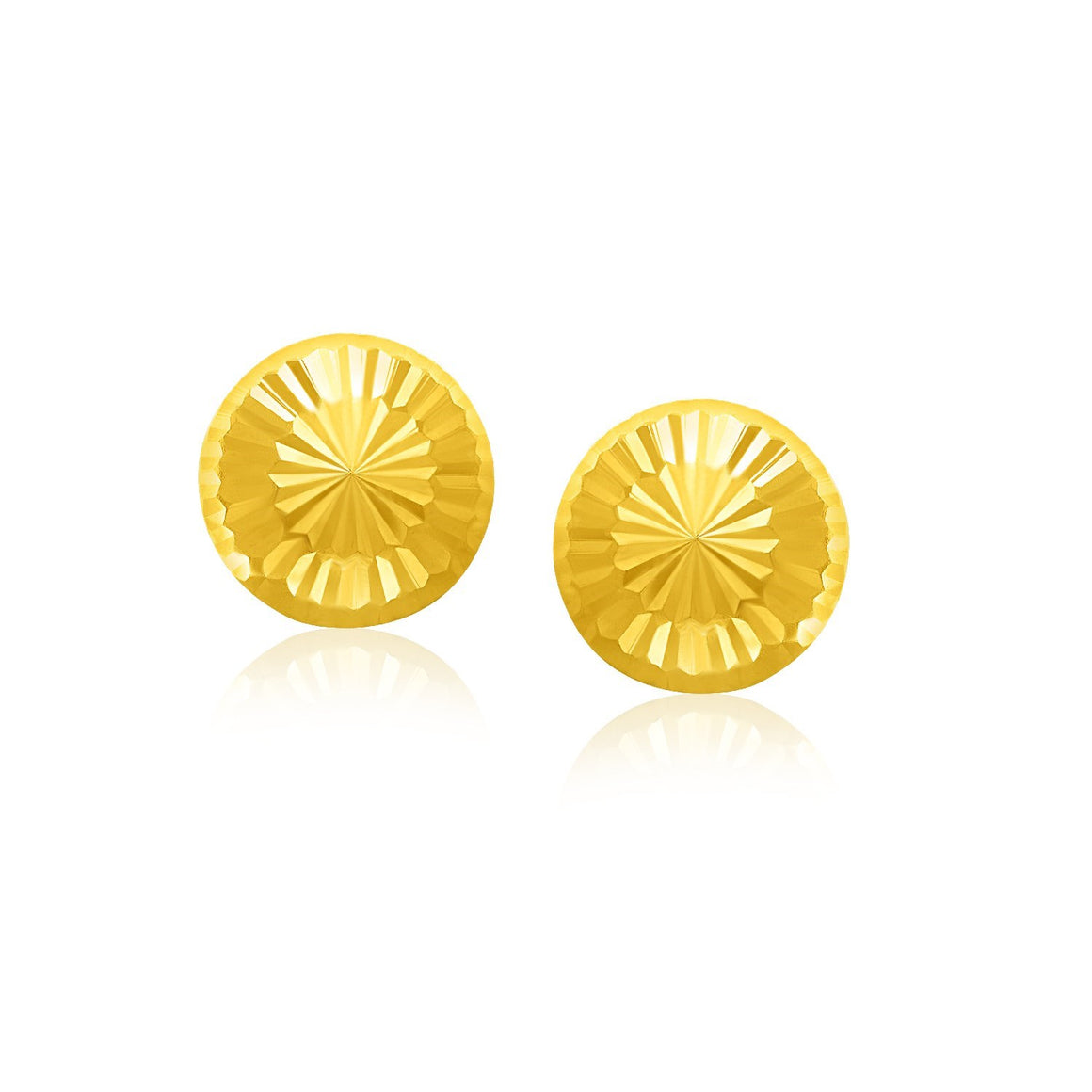14k Yellow Gold Textured Flat Style Stud Earrings