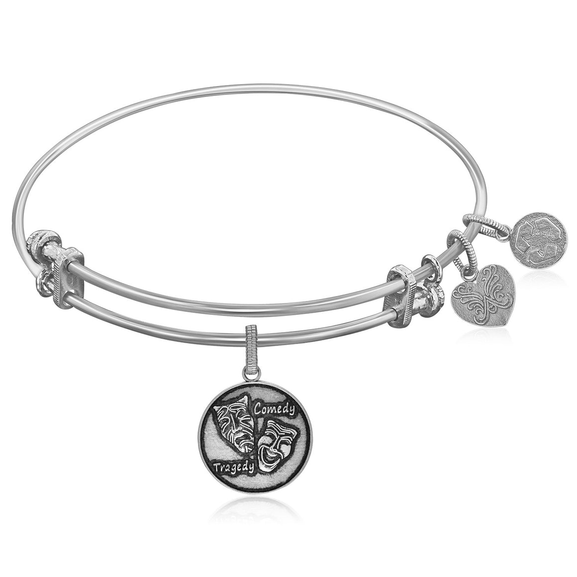 Expandable White Tone Brass Bangle with Comedy Tragedy Symbol