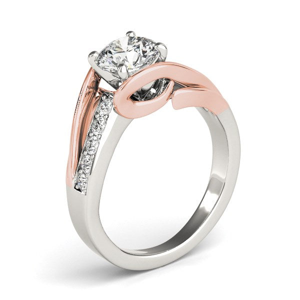 14k White And Rose Gold Bypass Shank Diamond Engagement Ring (1 1/8 cttw)