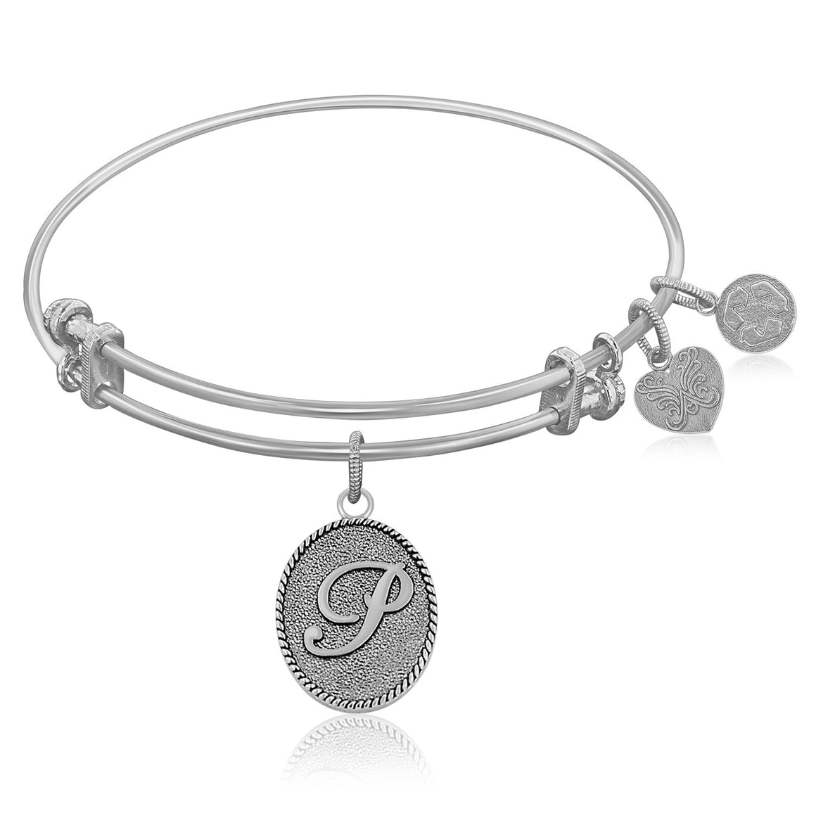 Expandable Bangle in White Tone Brass with Initial P Symbol
