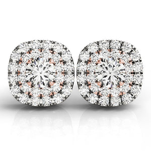 14k White and Rose Gold Cushion Shape Halo Diamond Earrings (3/4 cttw)