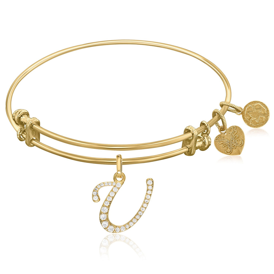 Expandable Yellow Tone Brass Bangle with U Symbol with Cubic Zirconia