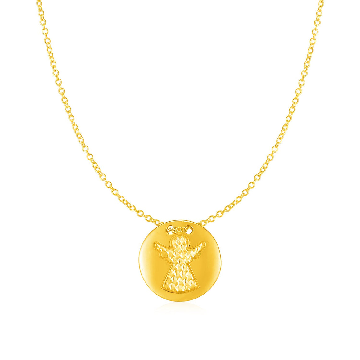 14k Yellow Gold Necklace with Angel Pendant