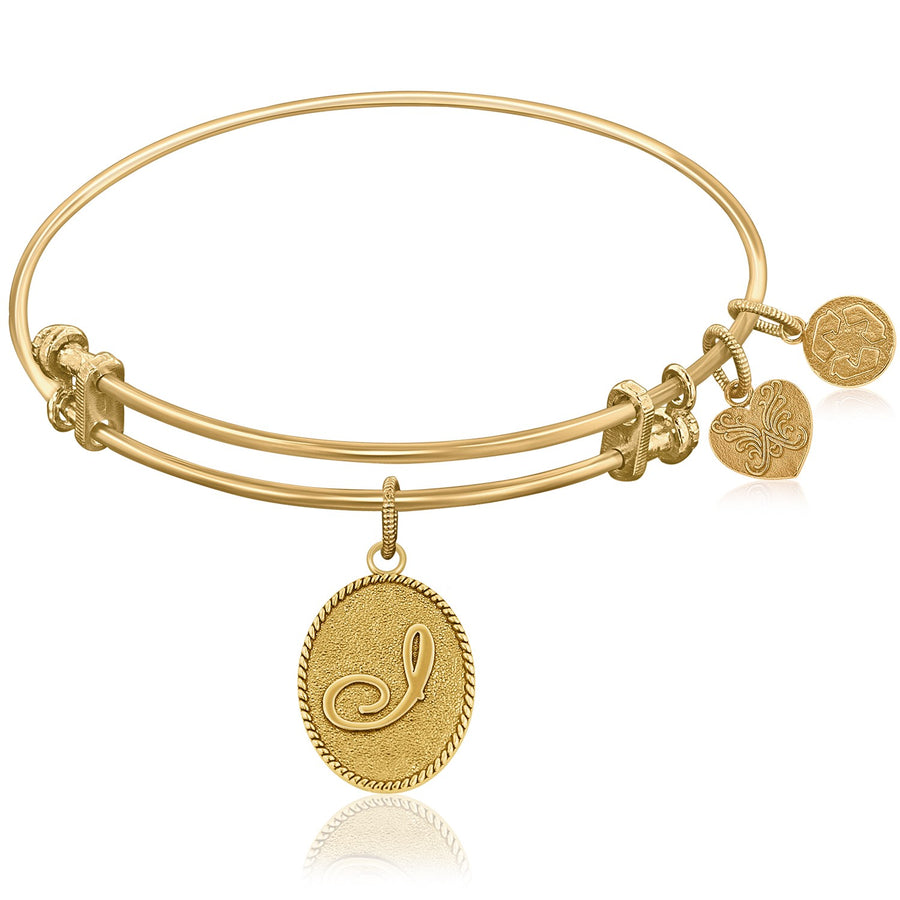 Expandable Bangle in Yellow Tone Brass with Initial I Symbol