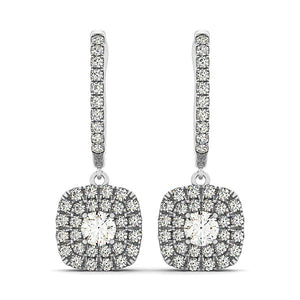 14k White Gold Double Halo Cushion Outer Shaped Diamond  Earrings (3/4 cttw)
