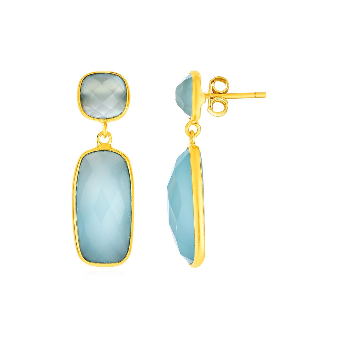 Drop Earrings with Aqua Chalcedony with Gold Finish in Sterling Silver