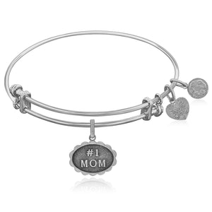 Expandable White Tone Brass Bangle with #1 Mom Symbol