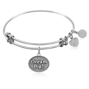 Expandable Bangle in White Tone Brass with Dream Big Symbol