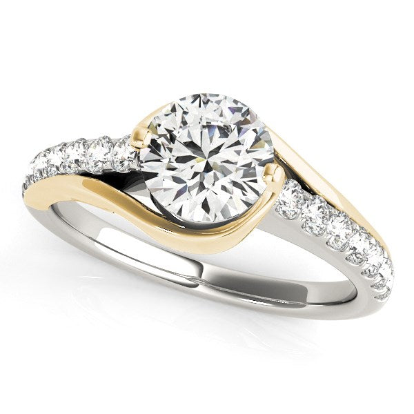 14k Two Tone Gold Split Shank Style Diamond Engagement Ring (1 1/4 cttw)