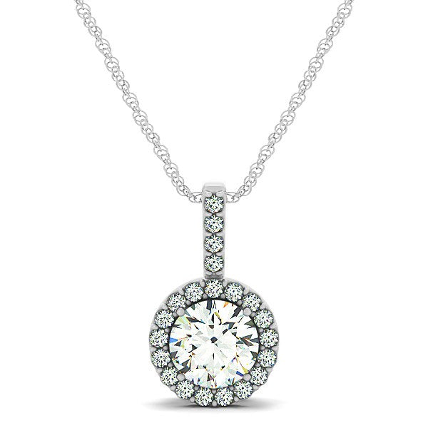 14k White Gold Diamond Halo Round Style Pendant (5/8 cttw)