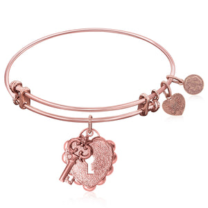 Expandable Bangle in Pink Tone Brass with Key To Opening Life's Doors Symbol