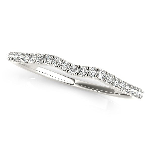 14k White Gold Wave Theme Diamond Wedding Band (1/8 cttw)