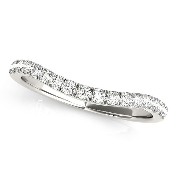 14k White Gold Pave Set Round Diamond Curved Wedding Band (1/4 cttw)
