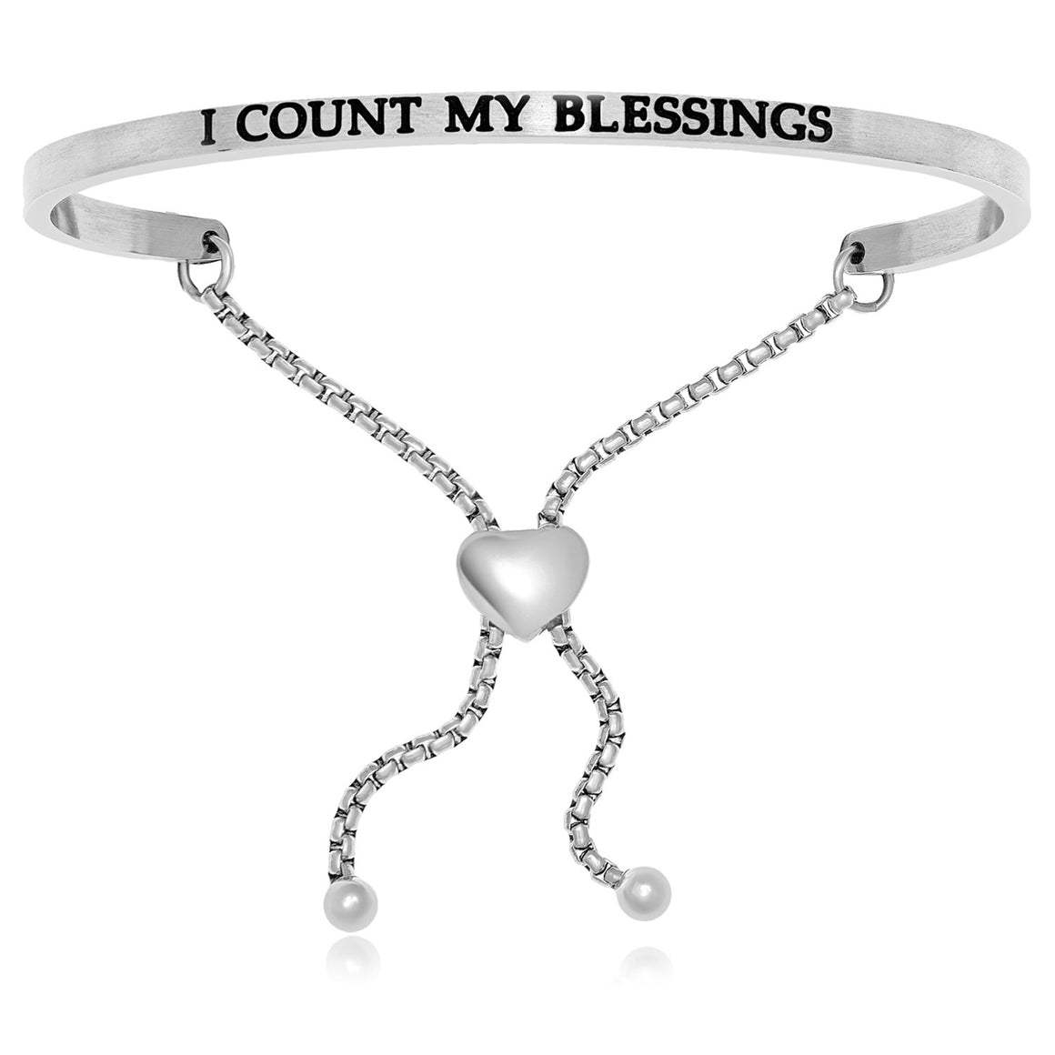 Stainless Steel I Count My Blessings Adjustable Bracelet