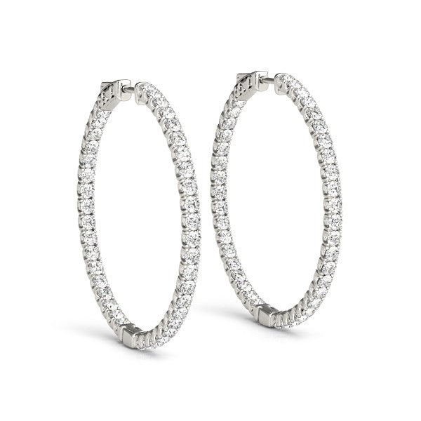 14k White Gold Diamond Hoop Earrings with Shared Prong Setting (2 cttw)